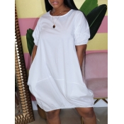 lovely Casual O Neck Loose White Knee Length Dress
