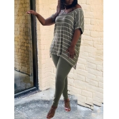 Lovely Leisure V Neck Striped Olive Two Piece Pant