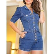 lovely Stylish Buttons Design Baby Blue Denim One-
