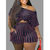 lovely Casual Striped Blue Plus Size Two-piece Sho