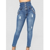 Lovely Trendy High-waisted Broken Holes Blue Jeans