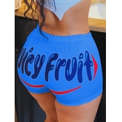 lovely Casual Letter Blue Shorts