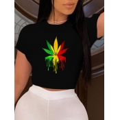 lovely Casual O Neck Plants Print Black T-shirt