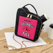 lovely Chic Letter Print Black Crossbody Bag