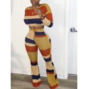 lovely Casual Rainbow Striped Orange Two Piece Pants Set