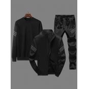 Lovely Sportswear Zipper Design Black Three-piece Pants Set
