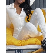 Lovely Sportswear Zipper Design White One-piece Jumpsuit