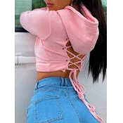 Lovely Casual Hooded Collar Bandage Design Pink Ho
