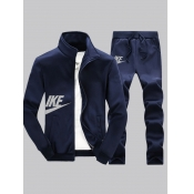 lovely Sportswear Letter Zipper Design Deep Blue Two-piece Pants Set