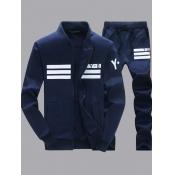 Lovely Men Sportswear Patchwork Deep Blue Two-piece Pants Set