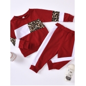 Lovely Sportswear O Neck Print Patchwork Red Girl Two-piece Pants Set