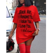 lovely Leisure O Neck Letter Print Red Mini Dress
