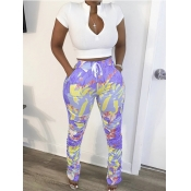 lovely Leisure Print Zipper Design Light Purple Two Piece Pants Set