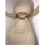 Lovely Sexy O Neck Cross-over Bandage Design Apricot Mini Dress