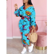 Lovely Leisure V Neck Lip Print Blue Two Piece Pants Set