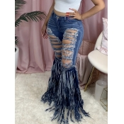 Lovely Street Broken Holes Tassel Design Deep Blue Jeans