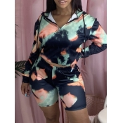 lovely Stylish Hooded Collar Tie Dye Black Two Piece Shorts Set
