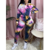lovely Casual Hooded Collar Tie Dye Navy Blue Two Piece Pants Set