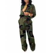 Lovely Casual Camo Print Army Green One-piece Jumpsuit
