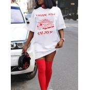 lovely Casual O Neck Letter Print White Mini T-shirt Dress