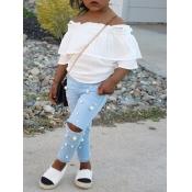 lovely Stylish Nail Bead Design White Girl Two-piece Pants Set