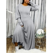 Lovely Casual Puffed Sleeves Loose Grey Maxi Dress