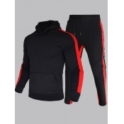 Men lovely Street Hooded Collar Patchwork Black Two-piece Pants Set