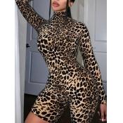Lovely Trendy Leopard Print Skinny One-piece Rompe