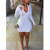 Lovely Casual Zipper Design White Mini Dress