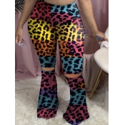 Lovely Stylish Broken Holes Leopard Print Pants