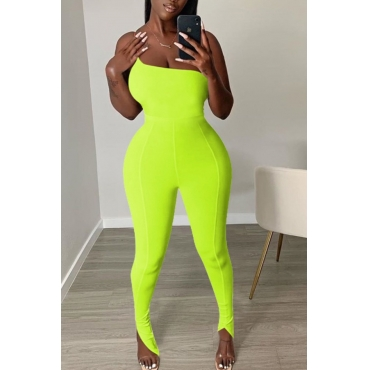 lovely Trendy One Shoulder Yellow One-piece Jumpsuit