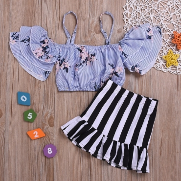 lovely Stylish Striped Print Baby Blue Girl Two-piece Skirt Set