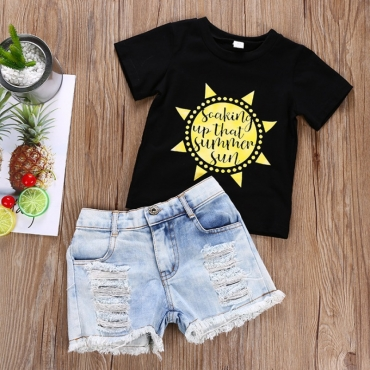 lovely Casual O Neck Print Black Girl Two-piece Shorts Set