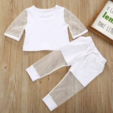 lovely Casual Patchwork White Girl Two-piece Pants Set