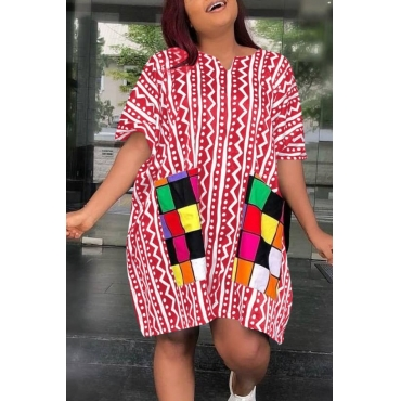 lovely Casual Print Patchwork Red Knee Length Plus Size Dress