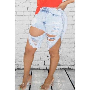 lovely Street Hollow-out Baby Blue Denim Shorts