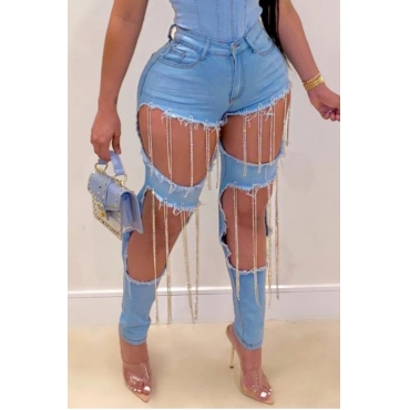 lovely Trendy Hollow-out Tassel Design Blue Jeans