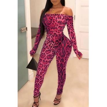 lovely Trendy Dew Shoulder Print Pink One-piece Jumpsuit