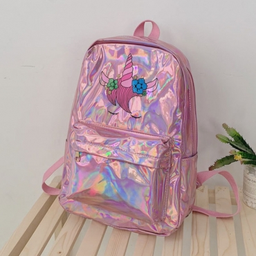 lovely Casual Print Rose Red Backpack