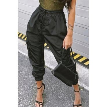 lovely Sportswear Lace-up Black Pants