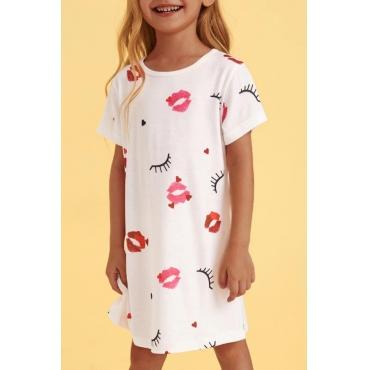 lovely Casual O Neck Print White Girl Knee Length Dress