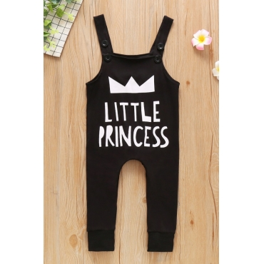 lovely Leisure Letter Print Black Girl One-piece Jumpsuit