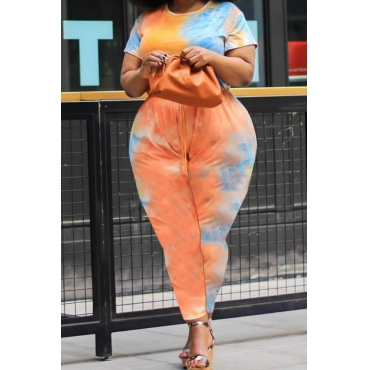 lovely Stylish Tie-dye Orange Plus Size One-piece Jumpsuit