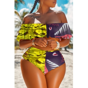 lovely Print Patchwork Yellow Plus Size Two-piece Swimsuit