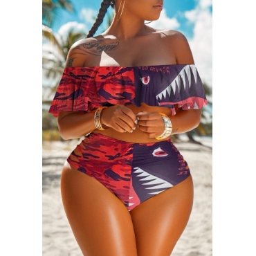 lovely Print Patchwork Red Plus Size Two-piece Swimsuit