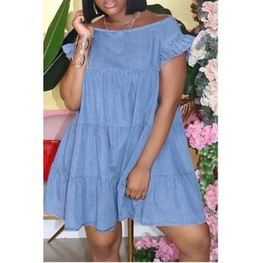 Lovely Casual Fold Design Deep Blue Mini Dress