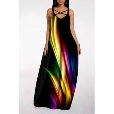 lovely Bohemian V Neck Tie-dye Black Maxi Dress