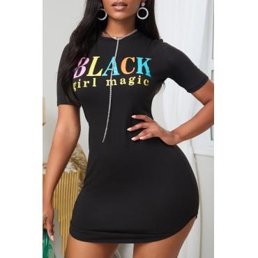 lovely Leisure O Neck Letter Print Black Mini Dress