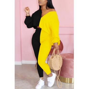 lovely Casual Patchwork Yellow Two Piece Pants Set