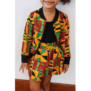 lovely Casual Print Multicolor Girl Two-piece Skirt Set